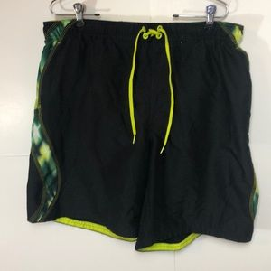 Nike Swim Trunks XL Draw String Black Green